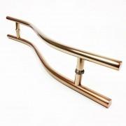 Puxador Portas Duplo Aço Inox Cobre Acetinado Safira 60 cm para portas: pivotantes/madeira/vidro temperado/porta alumínio e portões