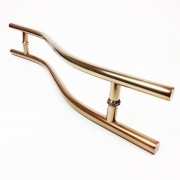 Puxador Portas Duplo Aço Inox Cobre Acetinado Safira 90 cm para portas: pivotantes/madeira/vidro temperado/porta alumínio e portões