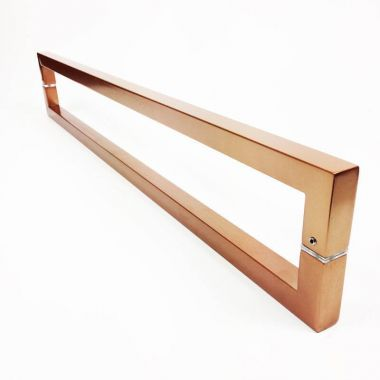 Puxador Portas Duplo Aço Inox Cobre Acetinado Slin 40 cm para portas: pivotantes/madeira/vidro temperado/porta alumínio e portões