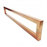 Puxador Portas Duplo Aço Inox Cobre Acetinado Slin 80 cm para portas: pivotantes/madeira/vidro temperado/porta alumínio e portões