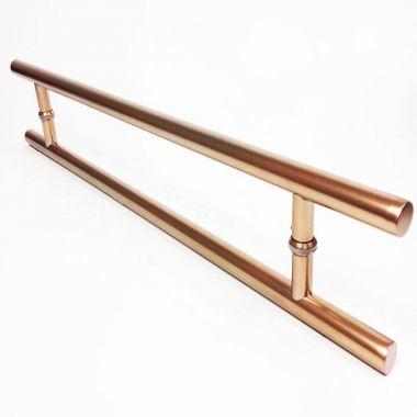 Puxador Portas Duplo Aço Inox Cobre Acetinado Soft 1,8 m para portas: pivotantes/madeira/vidro temperado/porta alumínio e portões