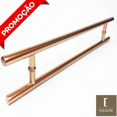 Puxador Portas Duplo Aço Inox Cobre Acetinado Soft 40 cm para portas: pivotantes/madeira/vidro temperado/porta alumínio e portões
