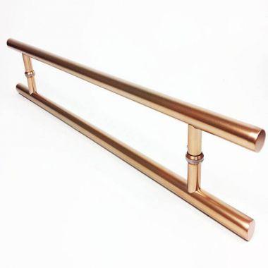 Puxador Portas Duplo Aço Inox Cobre Acetinado Soft 90 cm para portas: pivotantes/madeira/vidro temperado/porta alumínio e portões