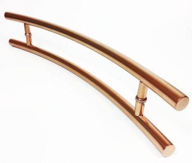 Puxador Portas Duplo Aço Inox Cobre Acetinado Solares 80 cm para portas: pivotantes/madeira/vidro temperado/porta alumínio e portões