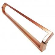 Puxador Portas Duplo Aço Inox Cobre Acetinado Style 60 cm para portas: pivotantes/madeira/vidro temperado/porta alumínio e portões