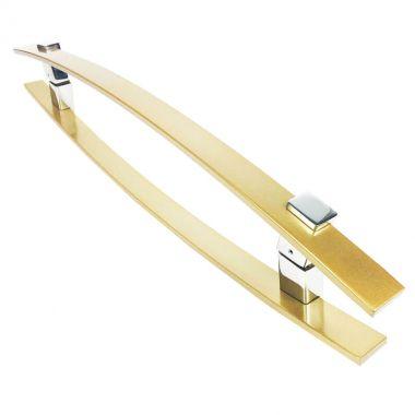 Puxador Portas Duplo Aço Inox Dourado Metálico Acetinado Alba 80 cm para portas: pivotantes/madeira/vidro temperado/porta alumínio e portões