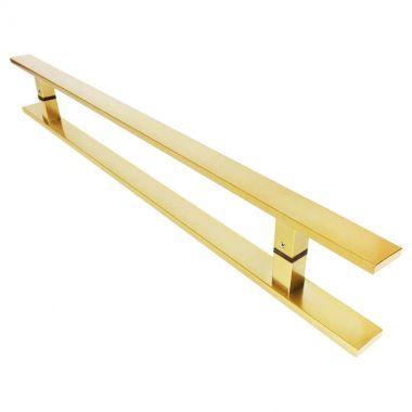 Puxador Portas Duplo Aço Inox Dourado Metálico Acetinado Clean 80 cm para portas: pivotantes/madeira/vidro temperado/porta alumínio e portões