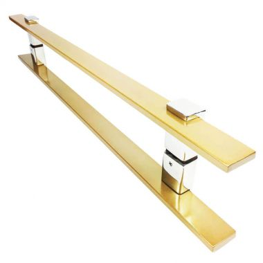 Puxador Portas Duplo Aço Inox Dourado Metálico Acetinado Luma 1,1 m para portas: pivotantes/madeira/vidro temperado/porta alumínio e portões