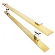 Puxador Portas Duplo Aço Inox Dourado Metálico Acetinado Luma 40 cm para portas: pivotantes/madeira/vidro temperado/porta alumínio e portões