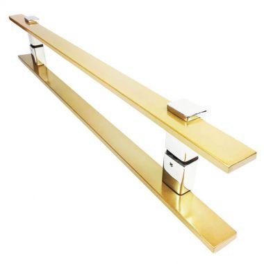 Puxador Portas Duplo Aço Inox Dourado Metálico Acetinado Luma 90 cm para portas: pivotantes/madeira/vidro temperado/porta alumínio e portões