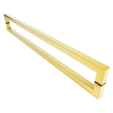 Puxador Portas Duplo Aço Inox Dourado Metálico Acetinado Slin 60 cm para portas: pivotantes/madeira/vidro temperado/porta alumínio e portões