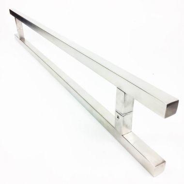 Puxador Portas Duplo Aço Inox Escovado Aristocrata 2 m para portas: pivotantes/madeira/vidro temperado/porta alumínio e portões