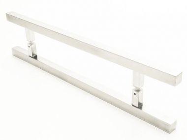 Puxador Portas Duplo Aço Inox Escovado Aristocrata 50 cm para portas: pivotantes/madeira/vidro temperado/porta alumínio e portões