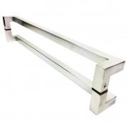Puxador Portas Duplo Aço Inox Escovado Athenas 80 cm para portas: pivotantes/madeira/vidro temperado/porta alumínio e portões
