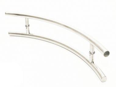Puxador Portas Duplo Aço Inox Escovado Belissima 40 cm para portas: pivotantes/madeira/vidro temperado/porta alumínio e portões
