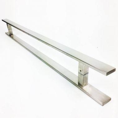 Puxador Portas Duplo Aço Inox Escovado Clean 1,1 m para portas: pivotantes/madeira/vidro temperado/porta alumínio e portões