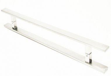 Puxador Portas Duplo Aço Inox Escovado Clean 40 cm para portas: pivotantes/madeira/vidro temperado/porta alumínio e portões