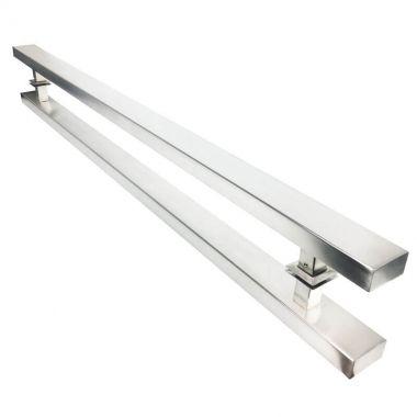 Puxador Portas Duplo Aço Inox Escovado Grand Clean 2,5 m para portas: pivotantes/madeira/vidro temperado/porta alumínio e portões
