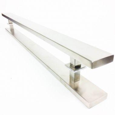 Puxador Portas Duplo Aço Inox Escovado Grand Clean 3 m para portas: pivotantes/madeira/vidro temperado/porta alumínio e portões