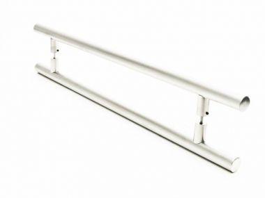Puxador Portas Duplo Aço Inox Escovado Grand Soft 2 m para portas: pivotantes/madeira/vidro temperado/porta alumínio e portões