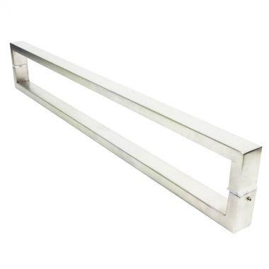 Puxador Portas Duplo Aço Inox Escovado Greco 1 m para portas: pivotantes/madeira/vidro temperado/porta alumínio e portões