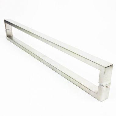 Puxador Portas Duplo Aço Inox Escovado Greco 50 cm para portas: pivotantes/madeira/vidro temperado/porta alumínio e portões