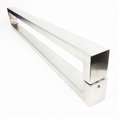 Puxador Portas Duplo Aço Inox Escovado Hércules 4 m para portas: pivotantes/madeira/vidro temperado/porta alumínio e portões