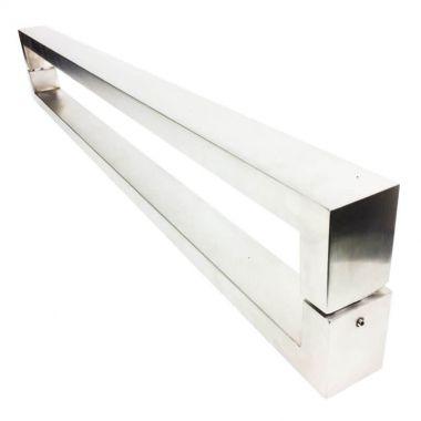 Puxador Portas Duplo Aço Inox Escovado Hércules 80 cm para portas: pivotantes/madeira/vidro temperado/porta alumínio e portões