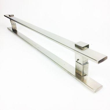 Puxador Portas Duplo Aço Inox Escovado Luma 40 cm para portas: pivotantes/madeira/vidro temperado/porta alumínio e portões