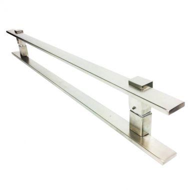 Puxador Portas Duplo Aço Inox Escovado Luma 90 cm para portas: pivotantes/madeira/vidro temperado/porta alumínio e portões