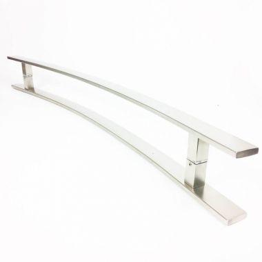 Puxador Portas Duplo Aço Inox Escovado Novita 1,1 m para portas: pivotantes/madeira/vidro temperado/porta alumínio e portões.