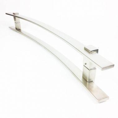 Puxador Portas Duplo Aço Inox Escovado Paola 60 cm para portas: pivotantes/madeira/vidro temperado/porta alumínio e portões.