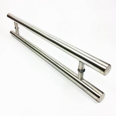 Puxador Portas Duplo Aço Inox Escovado Pleno 1,8 m para portas: pivotantes/madeira/vidro temperado/porta alumínio e portões