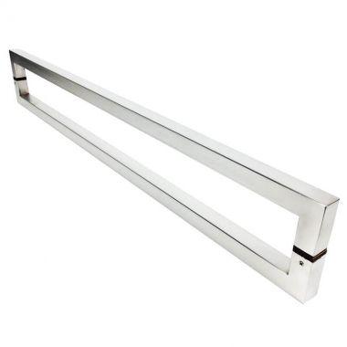 Puxador Portas Duplo Aço Inox Escovado Slin 50 cm para portas: pivotantes/madeira/vidro temperado/porta alumínio e portões