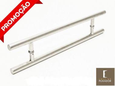 Puxador Portas Duplo Aço Inox Escovado Soft 40 cm para portas: pivotantes/madeira/vidro temperado/porta alumínio e portões
