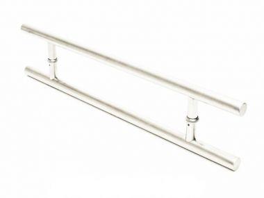 Puxador Portas Duplo Aço Inox Escovado Soft 50 cm para portas: pivotantes/madeira/vidro temperado/porta alumínio e portões