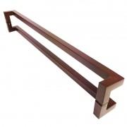 Puxador Portas Duplo Aço Inox Padrão Corten Athenas 60 cm para portas: pivotantes/madeira/vidro temperado/porta alumínio e portões