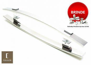 Puxador Portas Duplo Aço Inox Polido Alba 1,5 m para portas: pivotantes/madeira/vidro temperado/porta alumínio e portões