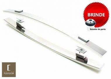 Puxador Portas Duplo Aço Inox Polido Alba 40 cm para portas: pivotantes/madeira/vidro temperado/porta alumínio e portões