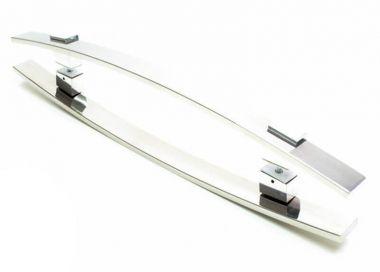 Puxador Portas Duplo Aço Inox Polido Alba 70 cm para portas: pivotantes/madeira/vidro temperado/porta alumínio e portões