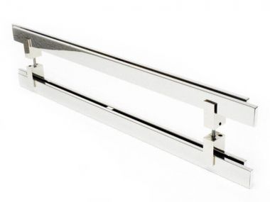 Puxador Portas Duplo Aço Inox Polido Aquarius 1,5 m para portas: pivotantes/madeira/vidro temperado/porta alumínio e portões