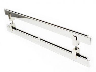 Puxador Portas Duplo Aço Inox Polido Aquarius 50 cm para portas: pivotantes/madeira/vidro temperado/porta alumínio e portões