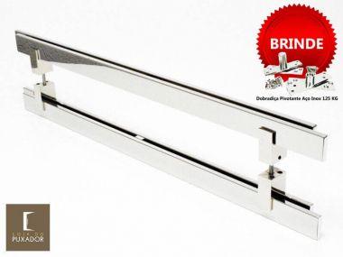 Puxador Portas Duplo Aço Inox Polido Aquarius 80 cm para portas: pivotantes/madeira/vidro temperado/porta alumínio e portões