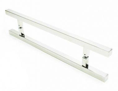 Puxador Portas Duplo Aço Inox Polido Aristocrata 40 cm para portas: pivotantes/madeira/vidro temperado/porta alumínio e portões