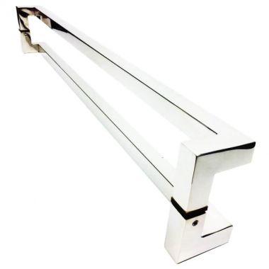 Puxador Portas Duplo Aço Inox Polido Athenas 40 cm para portas: pivotantes/madeira/vidro temperado/porta alumínio e portões