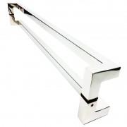 Puxador Portas Duplo Aço Inox Polido Athenas 80 cm para portas: pivotantes/madeira/vidro temperado/porta alumínio e portões