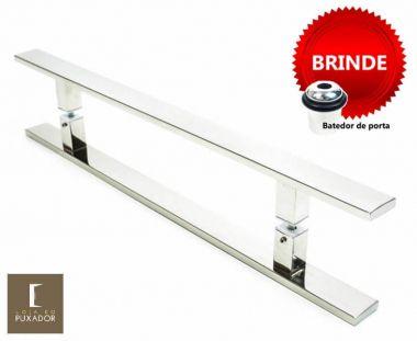 Puxador Portas Duplo Aço Inox Polido Clean 1,1 m para portas: pivotantes/madeira/vidro temperado/porta alumínio e portões