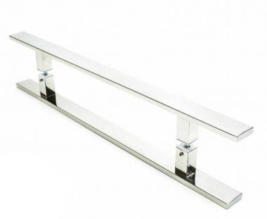 Puxador Portas Duplo Aço Inox Polido Clean 60 cm para portas: pivotantes/madeira/vidro temperado/porta alumínio e portões