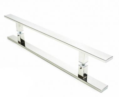 Puxador Portas Duplo Aço Inox Polido Clean 80 cm para portas: pivotantes/madeira/vidro temperado/porta alumínio e portões