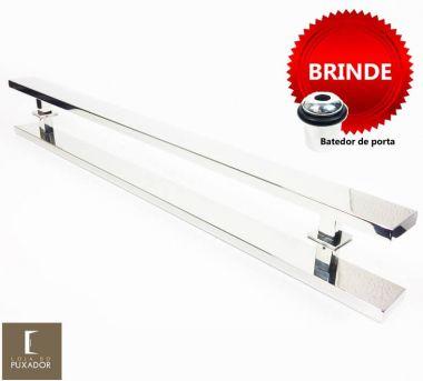 Puxador Portas Duplo Aço Inox Polido Grand Clean 1,1 m para portas: pivotantes/madeira/vidro temperado/porta alumínio e portões